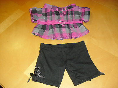 Build A Bear Plaid Top Outfit With Black Leggings