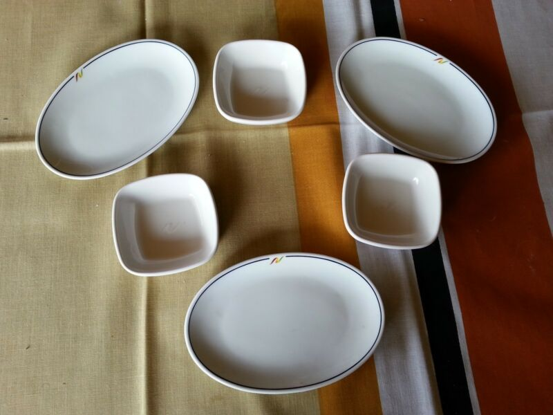 6 pc RARE Vintage NATIONAL AIRLINES OVAL PLATTERS REGO FIRST CLASS dishes
