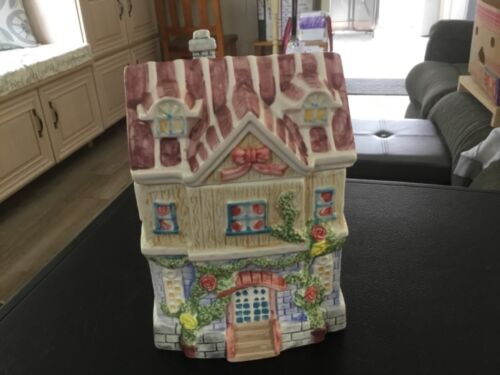 Ceramic Multi Color House Shaped Cookie Jar