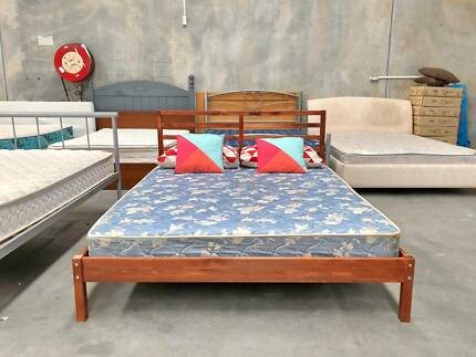 TODAY DELIVERY Queen bed & mattress BROWN MODERN WOODEN bed