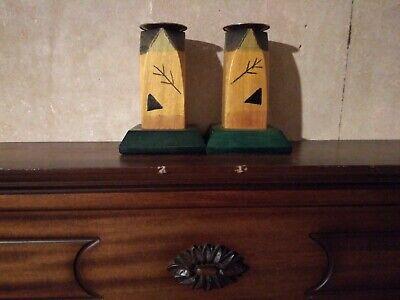 Vintage Wooden Pair Of African Kakadu Candle Holders