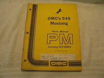 Mustang Omc 545 Skid Steer Loader Parts Manual Catalog 011-11804 Nc