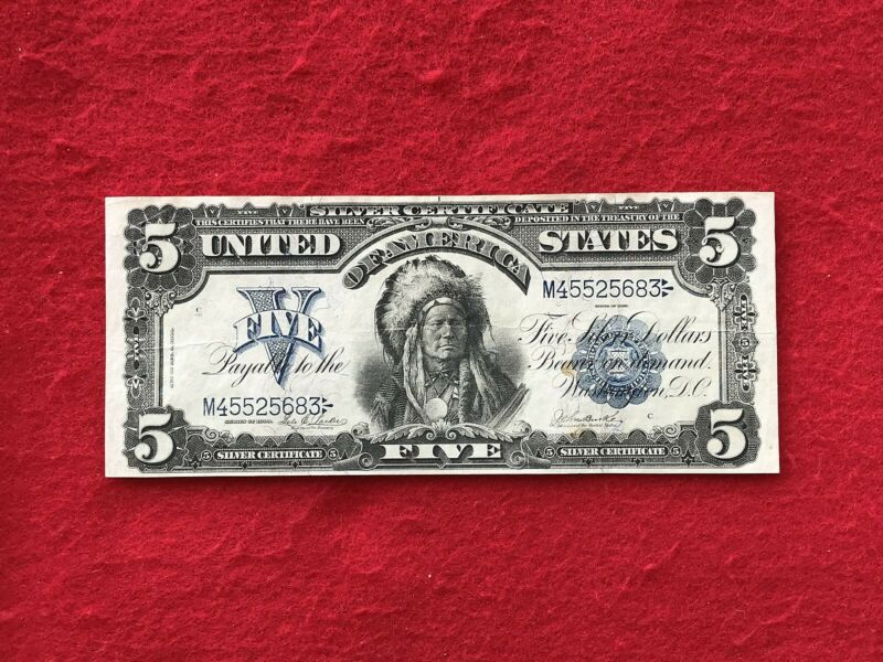 """FR-277 1899 Series $5 Dollar Silver Certificate """"Chief"""" *Very Fine*"""