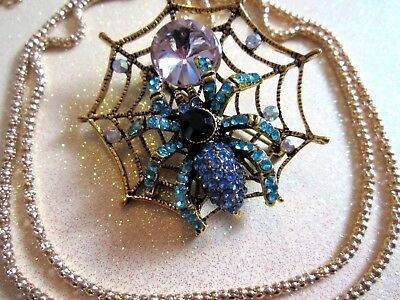 Blue Crystal Spider With Web Necklace