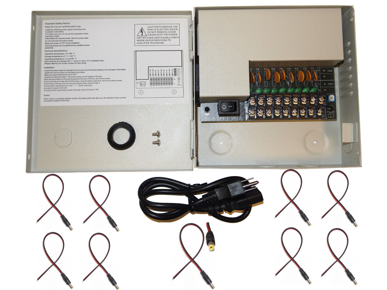 8 Ch Channel Power Supply Box Cctv Camera 9 Port 12v W Free Fuse Adapter Dc For
