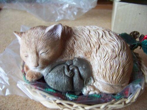 cat & mouse Not A Creature Was Stirring figurine in wicker basket w/ pillow