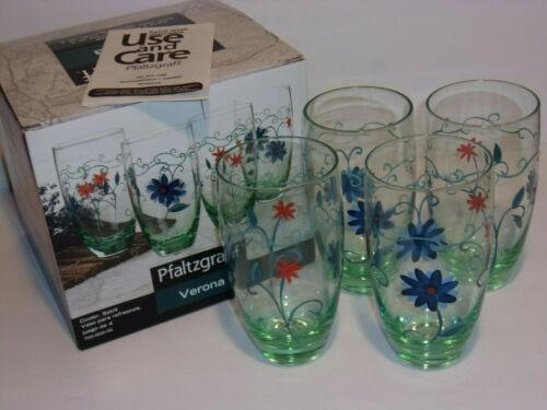Pfaltzgfaff Set of 4 20 oz. Cooler Drinking Glasses Verona Floral Pattern