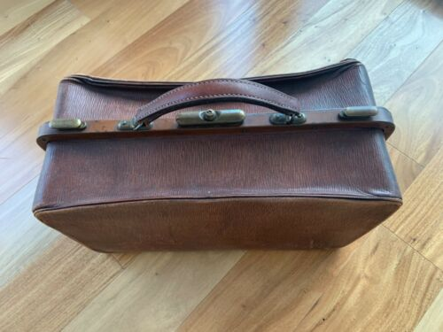 Antique French cowhide leather doctors bag