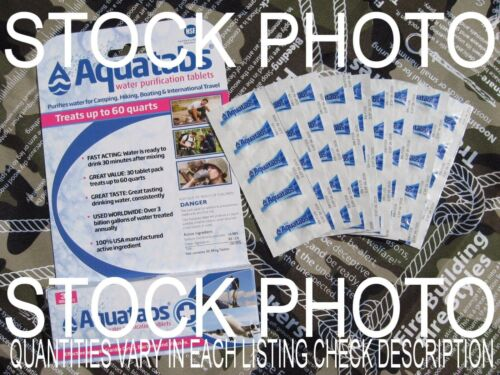 AQUATABS GERMICIDAL WATER PURIFICATION TABLETS-Emergency DrinkingWater EXP 10/24