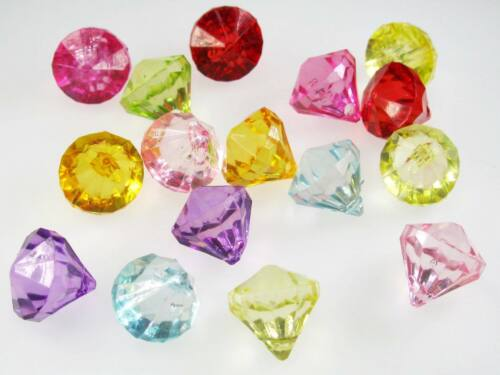 100+ Acrylic Faceted Diamond Transparent Mix Colors Bead Jewelry Craft 12x11mm