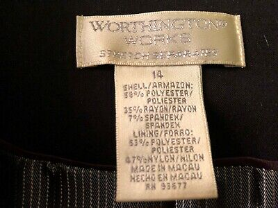 Women's 2 piece pant suit, Worthington, Black, Size 14, Gently Used