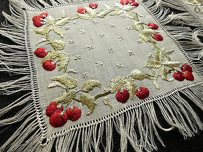 SOCIETY SILK c1920 Antique Hand Embroidered Linen Fringed 8 Cocktail Napkins