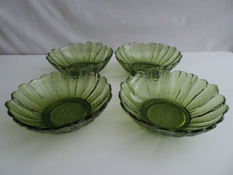 "Set of 4 Vintage Anchor Hocking Country Garden 6"" Green Salad Bowls"