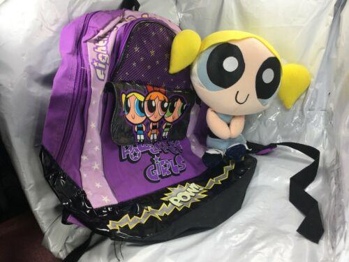 "Power puff Girls Bubbles Plush 12""  Blonde Hair Blue & Book bag Back pack FS EUC"