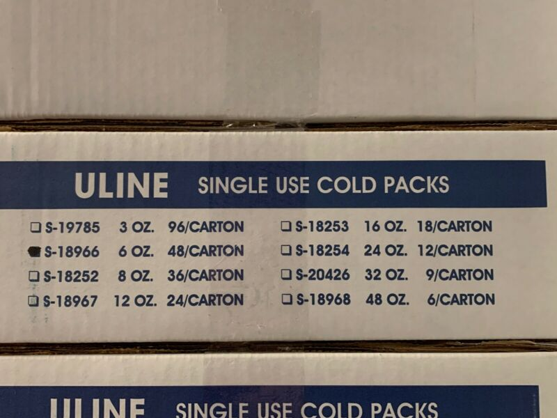 NEW 48 Pack ULINE 6oz. Freeze Cold Packs S-18966 Colder than Ice Gel Refrigerant