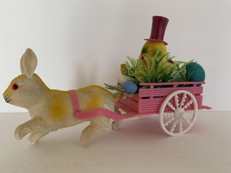 Vintage Easter Flocked Rabbit Pulling Chick In Cart Decoration