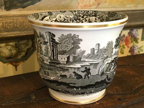 Vintage English Copeland Spode Black & White Italian Cache Flower Pot 7 inches