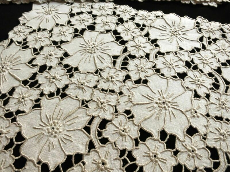 Masses of Flowers Antique Madeira Cutwork Embroidery - 8 Placemats & Runner