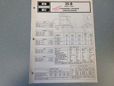 Rare Bucyrus-erie 25-b Crane Excavator Spec Information 1971