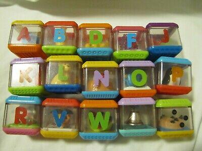 Lot #1 Fisher-Price Peek-A-Boo Blocks Lot of 15 - Alphabet etc peek a boo