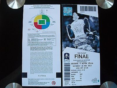 2015 F A Cup Final Ticket Arsenal v Aston Villa in Mint condition.