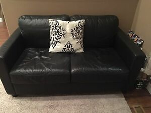 Leather top love seat and 3 seater couch
