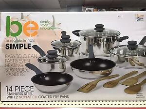 Brand New Basic Essentials 14 Pc Stainless Steel Pots and Pans