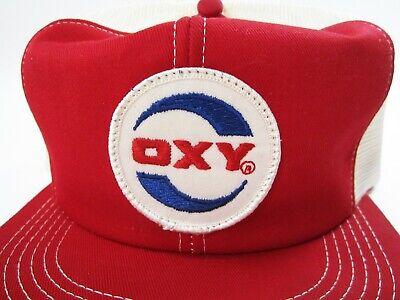 Vtg Oxy Occidental Oil Well Drilling Rig Mesh Snapback Trucker Hat K-brand Usa