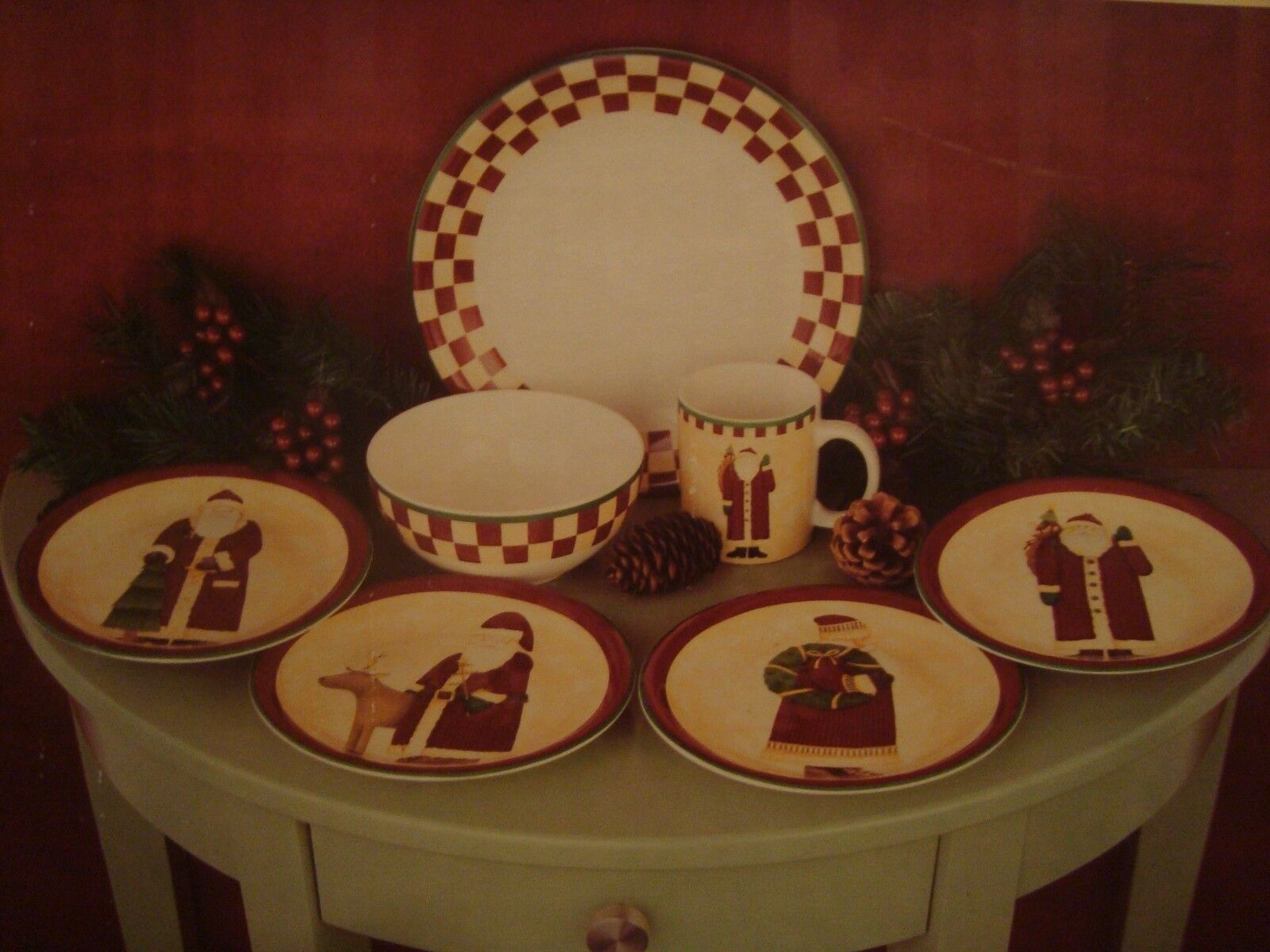 Debbie Mumm Zak Design FOLK ART SANTA 16 Pc Dinnerware Set - NEW in box & Debbie Mumm Zak Design FOLK ART SANTA 16 Pc Dinnerware Set - NEW in ...
