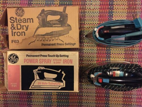 2 Vintage GE Steam & Dry Iron Model F91 & F63 Permanent Press Tested in BOX