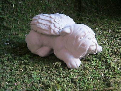 Bulldog Angel, Concrete Garden Dog Statue, Cement Statues, Pet Memorials