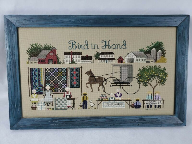 """Completed Cross Stitch BIRD IN HAND An AMISH VILLAGE 19 X 12"""" Told-In-A-Garden"""