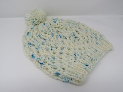 Handcrafted Knitted Hat Beanie Pom Pom 100% Merino Wool Female Adult Polka Dot