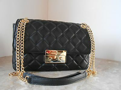 New MICHAEL KORS Sloan Large Quilt Chain Leather Shoulder Bag $328 BLACK GOLD