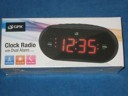 GPX C253B Dual Alarm AM/FM Clock Radio w/Large Display, 3.5mm aux in Black, New!