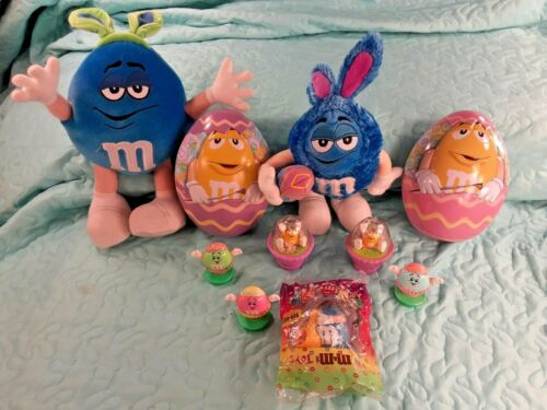 Lot of 10 M&M EASTER Items M&M Plush M&M Tins M&M Candy Toppers Burger King Toy