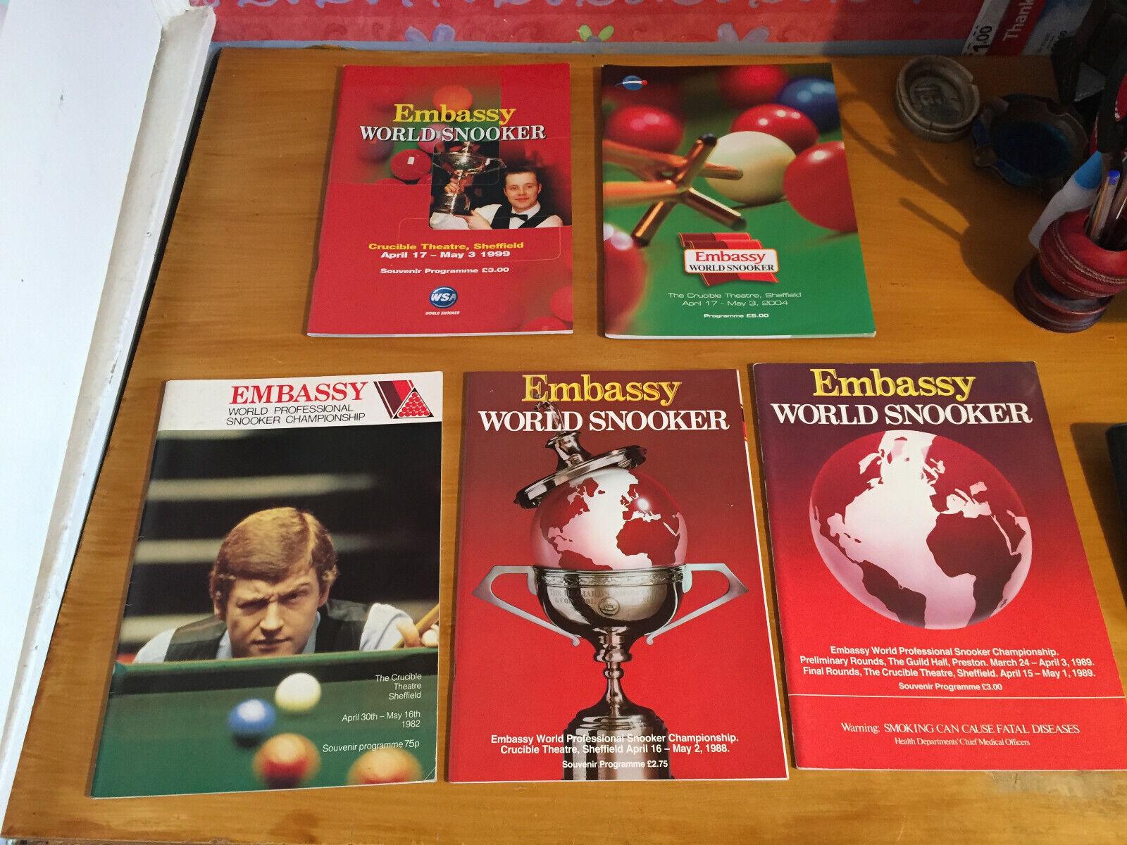 1980s-2004 5 Embassy World Professional Snooker Championship Progs 1982/8/9/1999