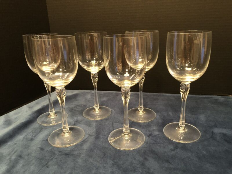 Vintage Crystal Wine Glasses *Beautiful Stem Design.  Heavy Set Of 6