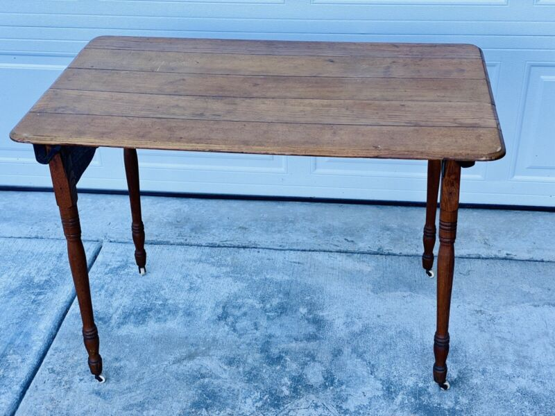 Antique Udells Excelsior No 1 Hand Sewing Industrial Wood Stand Folding Table