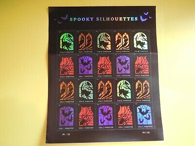 Halloween Postage Stamps (Halloween Spooky Silhouettes USPS Forever Stamp, Sheet of 20)