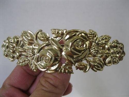 Vtg New Gold Lightweight Rose Ornate Flower Metal Hair Barrette French Clip 80