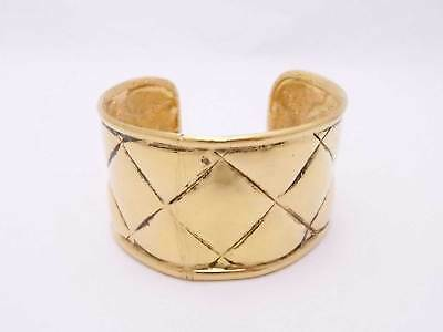 Auth CHANEL CC Logo Matelasse Wide Bangle Bracelet Goldtone Metal - e35188