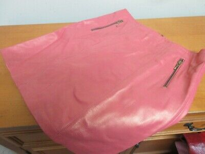 Cache Shimmering Coral Pink Leather Mini Skirt Size 0 A-line Womens