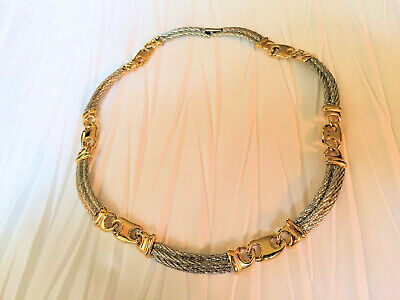 Vintage GUCCI Necklace Signed PAOLO Silver & Gold Tone Gucci Link Choker