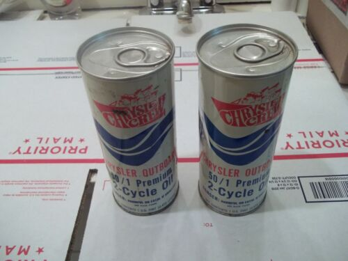 QTY. 2 VINTAGE FULL 1 PINT CANS OF CHRYSLER CREW OUTBOARD 501 TWO CYCLE OIL
