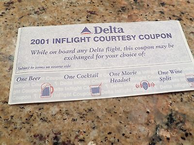 Delta 2001 In Flight Courtesy Free Coupon Airlines 12 2001 Rare Ticket Vintage