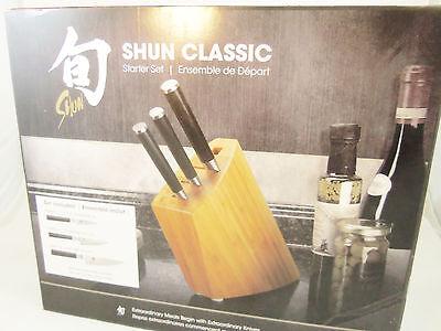 "Shun Classic 4 piece Starter Set - 6"" Chef, 4"" Citrus, 3.5"" Paring Knife, Block"