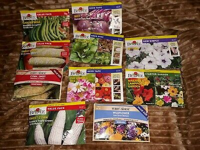 Lot of 4 Large (8 oz.) Burpee Seed Packs - Sweet Corn, Peas,Beets, lettuce + 1