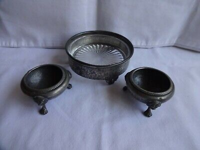 ANTIQUE HAND HAMMERED PEWTER BOWLS LION FEET X 2 & GLASS LINED HOLDER SHEFFIELD