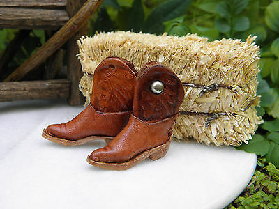 Miniature Dollhouse Fairy Garden Farm Accessories   Tiny Leather Cowboy Boots